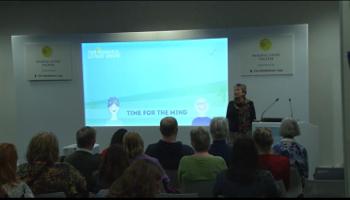 Photo of Dina Glouberman giving a talk